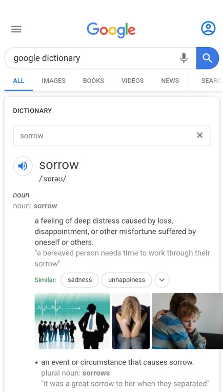The word 'sorrow' in the Google Dictionary