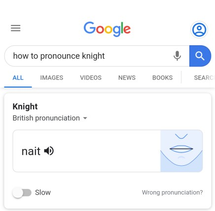 Single syllable pronunciation of the word 'knight'