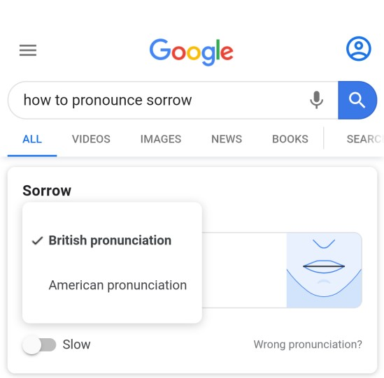 Display showing choice of American or British pronunciation of a word