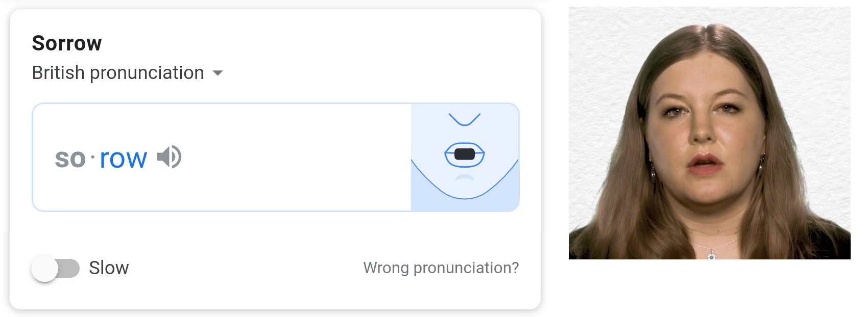 Image of Google Dictionary pronunciation lip movements and photograph of a human speaker