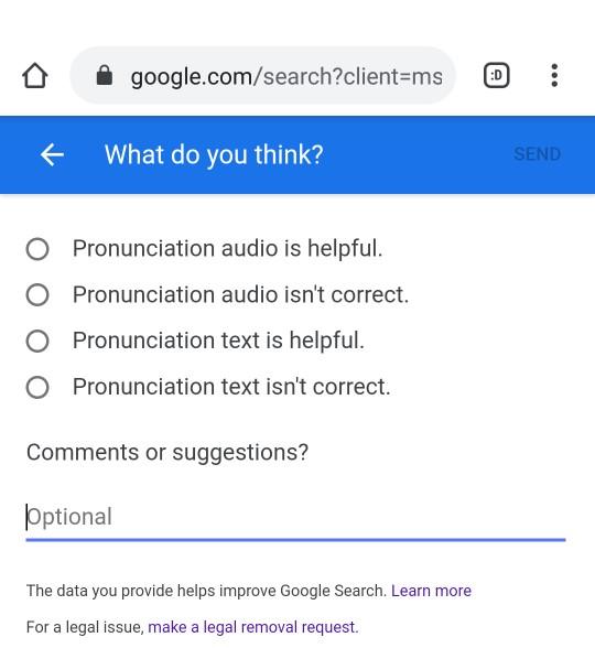 Selection of feedback options